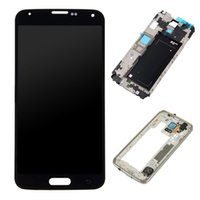 bar f - For Samsung Galaxy s5 i900A F H LCD Display Screen With Touch Screen Digitizer Assembly Frame white and Black