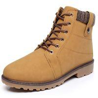 Chaussure en cuir en suède en cuir bottes d'hiver hommes bottes chaussures chaudes de neige en fourrure de velours de travail martin cow-boy femmes chaussures chaussures lacets