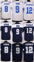 Wholesale Football Stitched Tony Romo Troy Aikman Roger Staubach White Thanksgiving Blue Thanksgiving Jerseys Mix Order