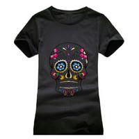 beautiful tees - Beautiful Skull Printing T shirt Women Fashion Camisetas T Shirt Streetwear Cotton girls Summer Style top tees red black grey