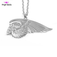 Pendant Necklaces worldwide Men's 2017 Badge Hell angel Hot sales New Arrived Skeleton Wing Brooch Motorcycle Biker Clothing jacket Hells Angels Pins Man Party Rock Gift Free
