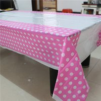 Wholesale party supplies1pcs pink polka dot disposable plastic tablecover tablecloth map for kids happy birthday party decoration