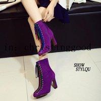 al por mayor botas de tacón de color púrpura-Nuevamente el cuero del ante ata para arriba los cargadores del partido de la señora púrpura / el tobillo grueso negro del talón patea el talón de los 8.5cm