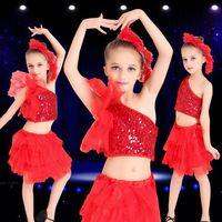 Wholesale Children s Costumes Costumes Modern Jazz Dance Performance Costumes Summer Children s Great Red Sequin Dance Wear