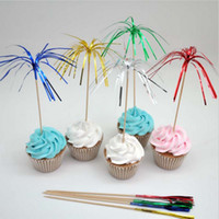 bamboo cocktail - Color fireworks toothpick cocktail picks Fruit Toothpick dessert cake decorating tools wedding party supplies