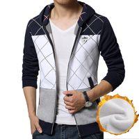 atmosphere hoodies - New design atmosphere stitching Thickening Men Hoodies fashion badge decoration hoodies casual Slim hooded Sweatshirt M XL
