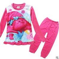 baby long underwear - Children Trolls Pajamas Outfits Cartoon Long Sleeve Sleepwear Printing Kids Underwear Top Pants baby suit Kids Clothing Christmas Gifts