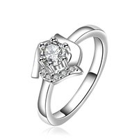 Wholesale new arrival Lottery rose shape silver jewelry ring for women WR379 fashion white gemstone silver Wedding Rings
