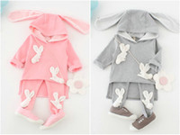 Wholesale Kids Baby Girls Clothes set Toddler Infant T shirt Top Lovely Rabbit Long Pants