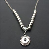 Mode 50cm Chaîne de liaison en métal gingembre Perles Noosa morceaux 12mm Snap boutons Charms Pendentif Collier Femme Bijoux