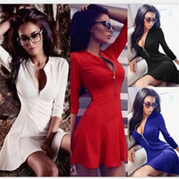 Wholesale Women Sexy Party Dresses Bodycon Casual Color Night Club Ruffle Ruched Zipper Large Plus Size Midi Pencil XL Crew Neck Black Red YYFS