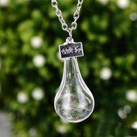 best wishes flowers - 2016 Best wish drift bottle dandelion Wishing Bottle Dried Flower Necklaces for women glass necklaces jewelry