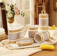 Wholesale New Arrival quot H quot Mark Porcelain Bathroom Accessory Set With Gold Shampoo Bottle Soap Saucer