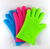 Wholesale Silicone Kitchen Cooking Gloves Microwave Oven Non slip Mitt Heat Resistant Silicone Home Gloves Cooking Baking BBQ gloves Holder ZZ