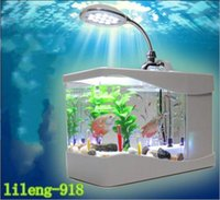 Wholesale 2017 New style USB aquariums Lileng USB LED fish tank USB aquatic animals Mini fish tank mini aquarium