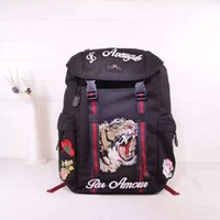 Wholesale 2016 high quality women and man backpack Hand embroidery double G fashion designer tigerlogo Letter printing Flowers Travel bag laptop bag