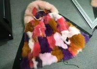 Noël Rose Real Fox fourrure MRMRS Ladies fourrure mini parkas capuche avec un véritable collier de fourrure de raton laveur