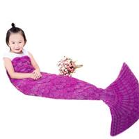 al por mayor manta caliente-140 * 37cm hilo encantadora tejida cola de sirena manta sofá cama suave suave hecho a mano ganchillo portátil mantas para niños