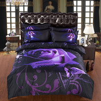 Wholesale Luxury Big Purple Rose Bedding sets Piece Duvet cover Bed sheets Bedspreads Pillowcases Queen King Super king Rose Bed linen Bedclothes