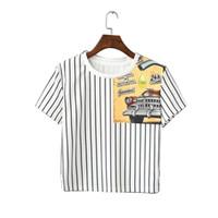 Precio de Coche de camisetas al por mayor-Venta al por mayor QI97 Corea Moda 2016 Verano Vintage Blanco Striped Car Impresión Camiseta para las mujeres de manga corta Casual Tops de la cosecha