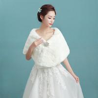 Wholesale CHENLVXIE White Faux Fur Ribbon Winter Wedding Bridal Shawl Shrug Cape Stole Wraps Coat Keep Warm AT001