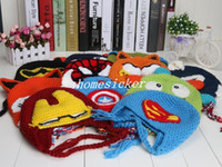 Wholesale checking Despicable me minion seen superman spiderman batman Knitted crochet wool hat with the ear flap Children crochet hat cap f