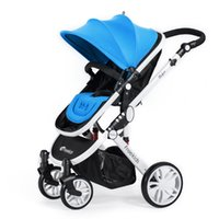 Wholesale Luxury high landscape shockproof pram can sit and down stroller winter summer two way solid wheels inflatable wheels