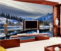 Фонтан Снежное горное плато 3D Пейзажная роспись обои для стен 3 d для гостиной