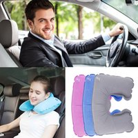 Wholesale Inflatable Travel Pillow Air Cushion Neck Rest U Shaped pillow Plane Flight Plastic with flocked surface