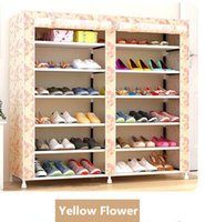 Wholesale Fashion Pattern DIY Double Row Seven Layers Six Lattice Folding Shoe Rack Eco Friendly ROHS