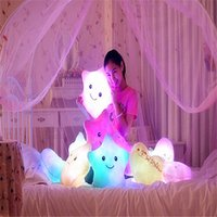 Wholesale Luminous pillow Christmas Gift Led Light Pillow plush Pillow Hot Colorful Stars kids Toys Birthday Gift