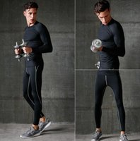 Wholesale Breathable Solid O neck Long Sleeve Sport Running Set Plus Size T Shirt Pants Tracksuit Male Fitness Wicking Sport Suit