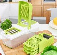 Hot 6 in 1 Multifuncional Shredder Grater Vegetales Fruit Juicer Lámina de acero inoxidable con una caja de almacenamiento para herramientas de cocina del hogar