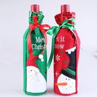 Wholesale 2016 new products Christmas decorations bottle sets Red wine gift gift bags Table decorations lovely cartoon