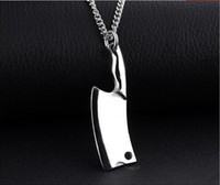 american kitchen knives - 2017 New Arrival Fashion style Top quality titanium steel kitchen knife personality pendant necklace for Man N1157