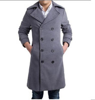 Wholesale Europe and the United States cultivate one s morality men s winter new boutique big yards cashmere trench coat M XL