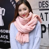 Wholesale Han edition men and women lovers with warm winter grid imitation cashmere scarf shawl and collar XueShengChao joker tassel model