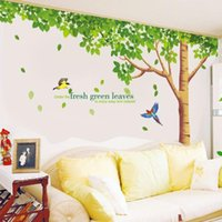 big green tree wall decal - 60 cm XL Size Big Green Tree Fresh Green Leaves Wall Stickers DIY Art Decal Removeable Wallpaper for Television Wall XY1098ABC
