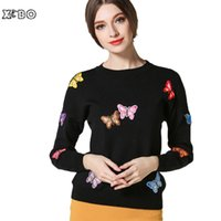 Wholesale Casual Spring Autumn Winter Women Work Office Pullover Slim Knitted Sweaters Tops Long Sleeve Embroidered Butterfly Sweater