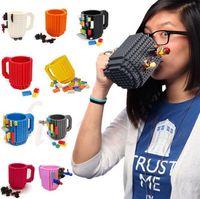 Wholesale Build On Brick Mug Building Blocks Mugs DIY Block Puzzle Mug Build On Brick creative Mug Coffee Cup ML KKA1266