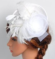 Wholesale Europe and the United States the bride hat hemp shamao Ostrich hair flower banquet lady headdress hairpin