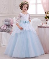 Wholesale Latest Flower Girl Dresses with Sleeve Ball Gown Party Pageant Communion Dress for Wedding Little Girls Kids Children Dress