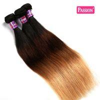 Extensiones de pelo de Ombre Straight brazalete brasileño de pelo de la Virgen empaqueta el pelo humano Ombre Remb de 3 tonos 1b / 4/27 # Ombre 4Pcs