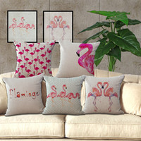 Wholesale Flamingo Pillows Linen Cases Linen Washable Cushion Cover Car Waist Pillow Case Invisible Zipper Design Cushions Covers For Home my