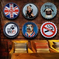Wholesale Beer cap wall decoration Iron home bar decoration painting Forbidden logo painting wall hanging