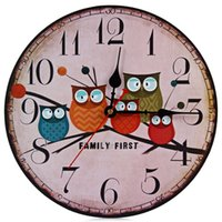 Wholesale Modern Design Wooden Wall Clock Owl Vintage Rustic Shabby Chic Home Office Cafe Decoration Art Large Watch Horloge Murale