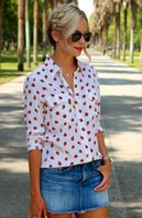 autumn berries - EQ silk strawberry print ladies long sleeve blouses Equipment women berries shirt spring autumn