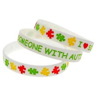 autism support - Hot Sell PC I Love Someone with Autism Silicone Wristband Ink Filled Colour A Great Way To Show Your Support