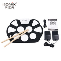 Vente en gros-Hot Electronic Drum Set USB / MIDI Machine Roll up Batteries kits / Avec Tambour Sticks / 5-Tambour / 9-Pad Srum MD758 Livraison gratuite