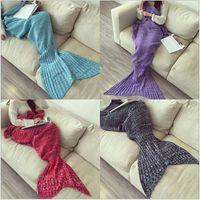 Wholesale Children Mermaid Tail Blankets cm Mermaid Sleeping Bags Knit Sofa Nap Blankets Costume Cocoon Sofa Blankets